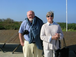 Alan and Mayor Wilks stand on Omaha Beach at Normandy