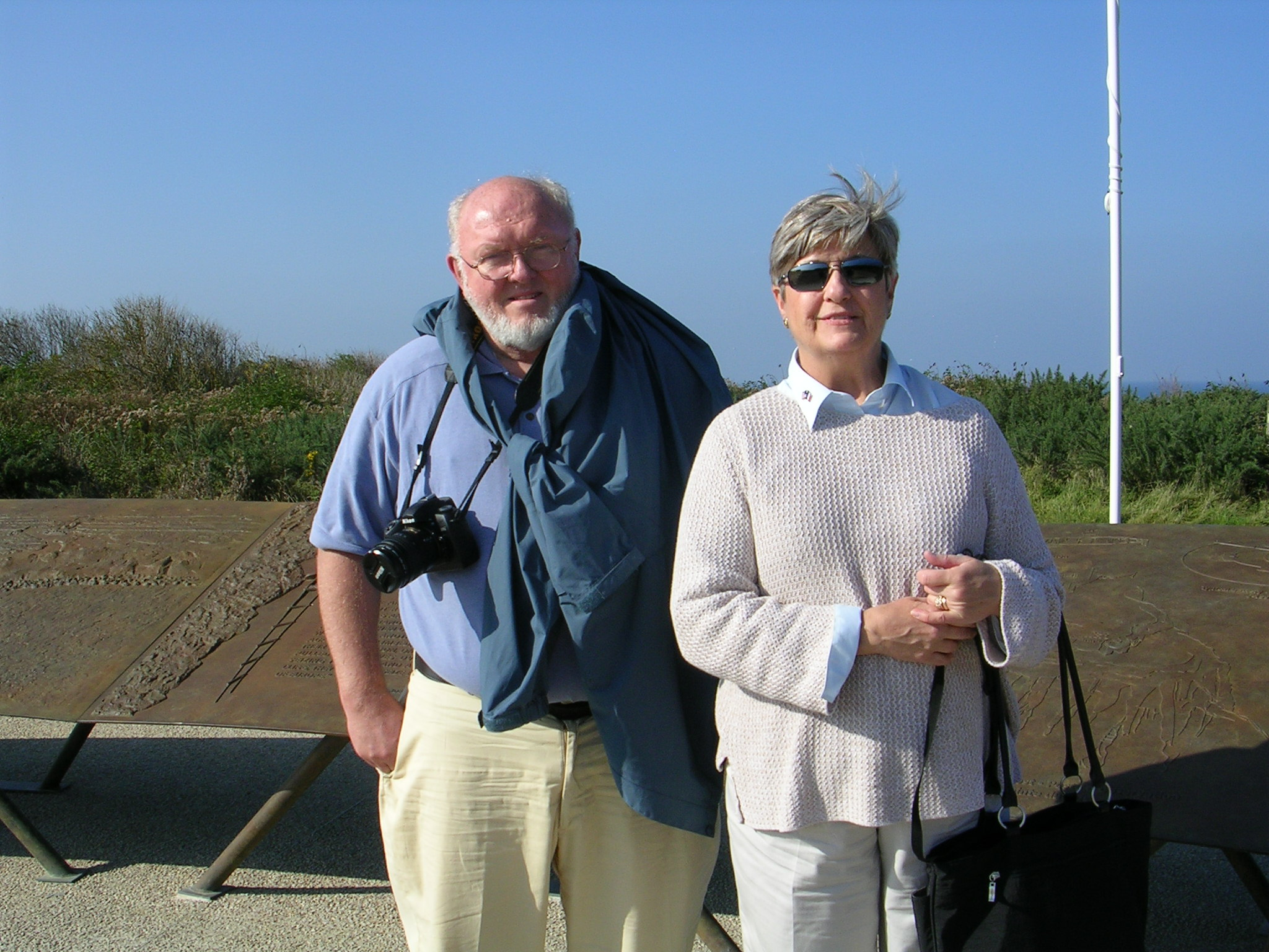 Alan and Mayor Wilks stand on Omaha Beach at Normandy